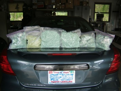 Bags containing ecstasy pills that were seized by Ohio Highway Patrol Troopers