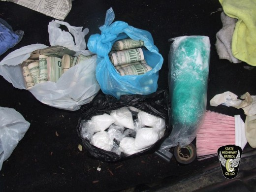 Cocaine and money seized by Ohio State Police