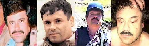 Photos of Chapo Guzman in the 1980s, 1990s, 2000s, and arrest picture