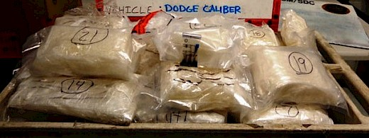 Freezer Bags Filled with Methamphetamine Found Hidden in Vehicle